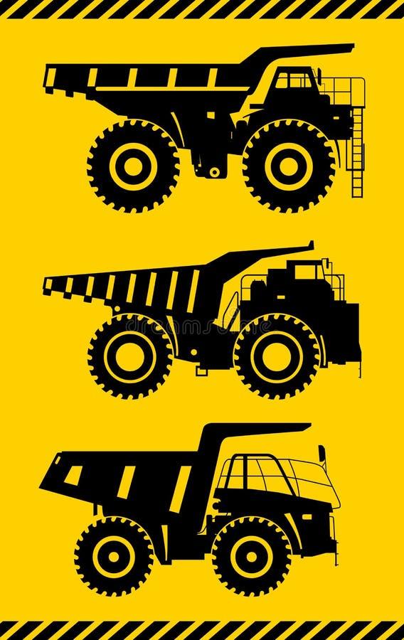 camiones de la Apagado-carretera Camiones de mina pesados Ilustración del vector stock de ilustración
