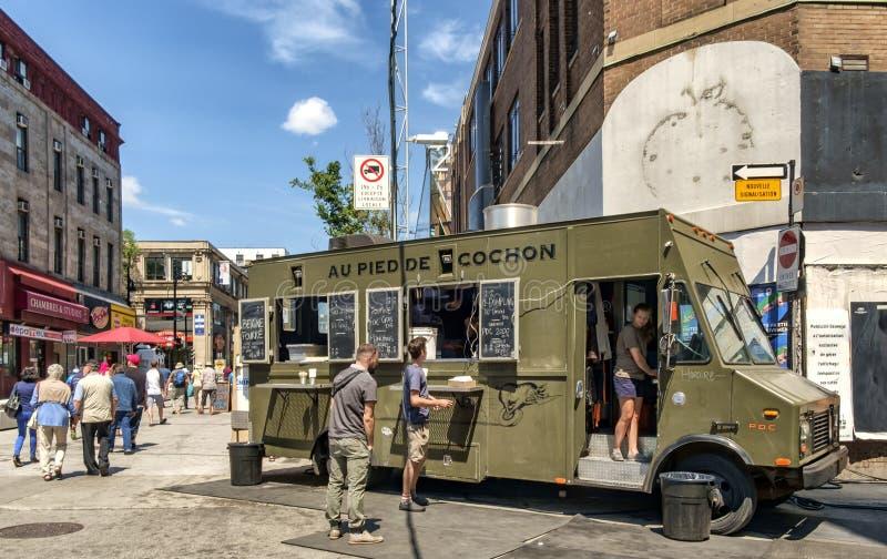 Camiones de la comida de Montreal fotografía de archivo