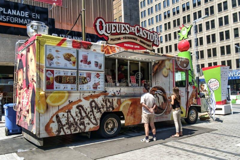 Camiones de la comida de Montreal foto de archivo libre de regalías