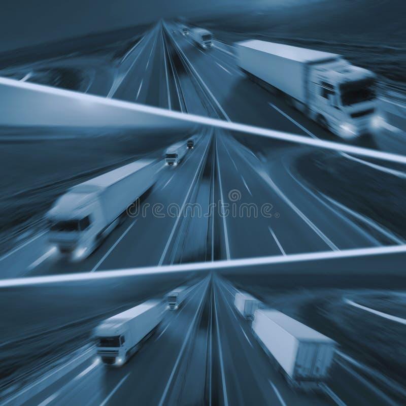 Camiones de reparto rápidos en la falta de definición de movimiento en la carretera foto de archivo