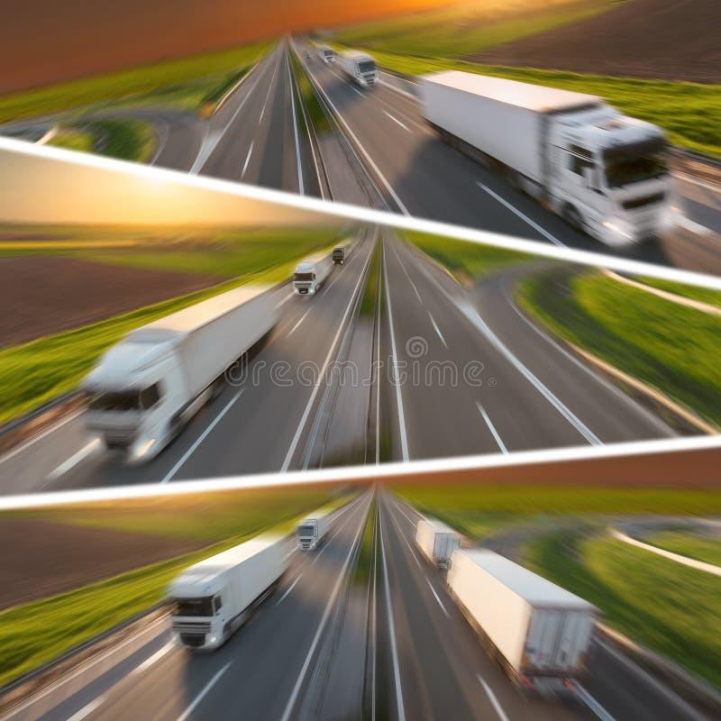 Camiones de reparto rápidos en la falta de definición de movimiento en la carretera en la puesta del sol imagenes de archivo