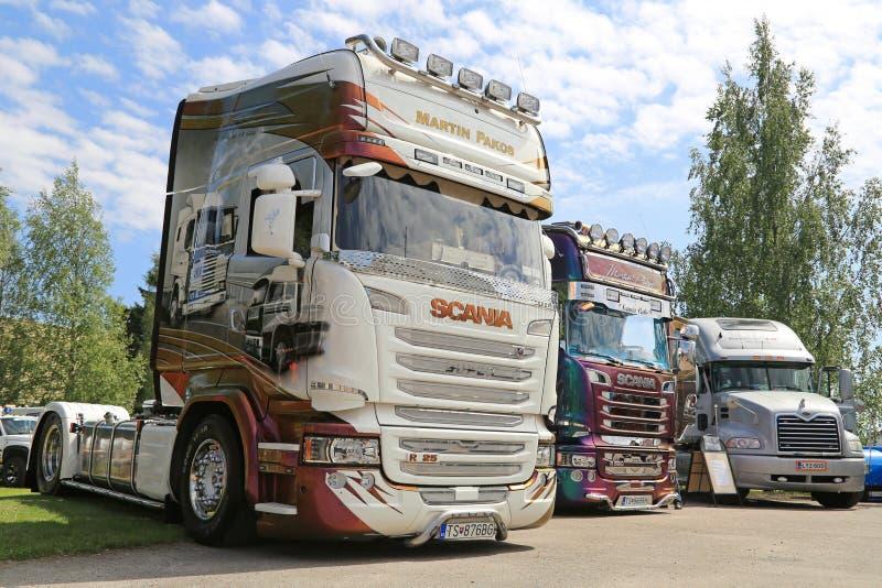 Camiones estupendos de Scania de Martin Pakos en una demostración foto de archivo libre de regalías