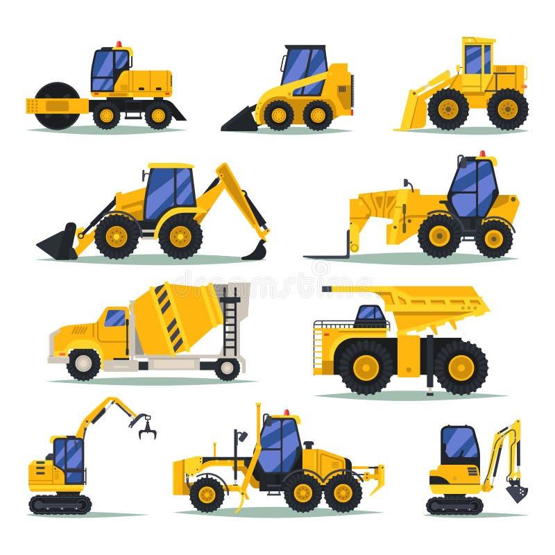 Camiones pesados o camión, autos para el trabajo industrial ilustración del vector