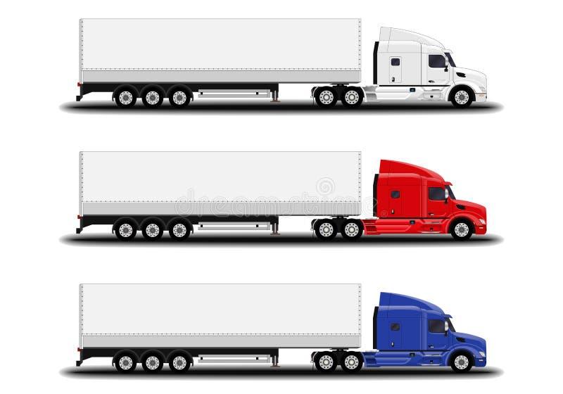 Camiones realistas fijados stock de ilustración