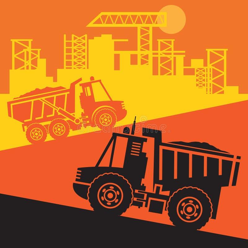 Camiones volquete, maquinaria del poder de la construcción ilustración del vector