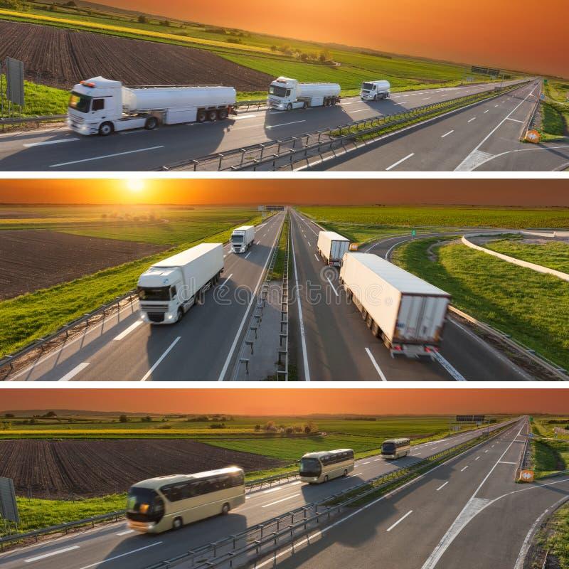 Camiones y autobuses en la falta de definición de movimiento en la carretera en la puesta del sol imágenes de archivo libres de regalías