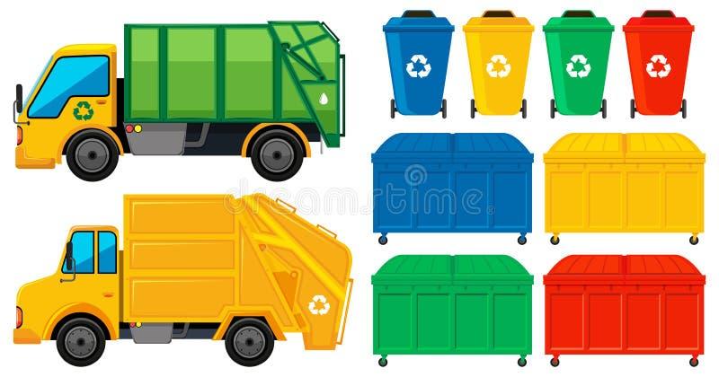 Camiones y latas de los desperdicios en muchos colores ilustración del vector