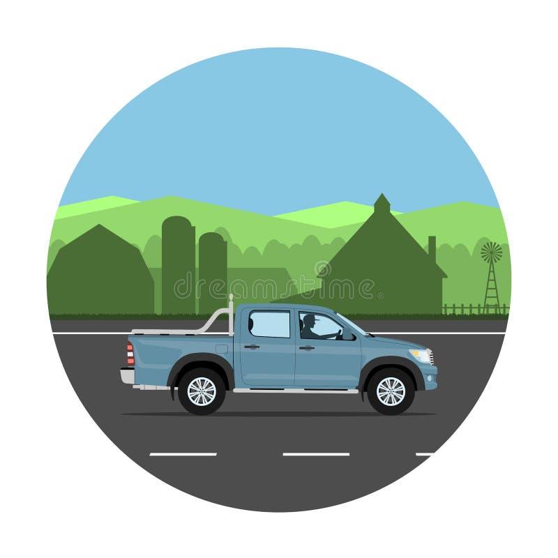 Camioneta pickup en el camino ilustración del vector