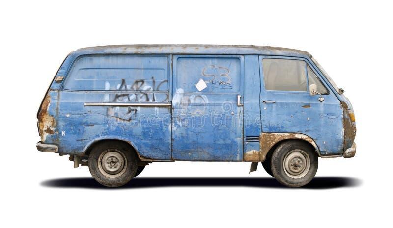 Camionete azul golpeada isolada no branco imagem de stock