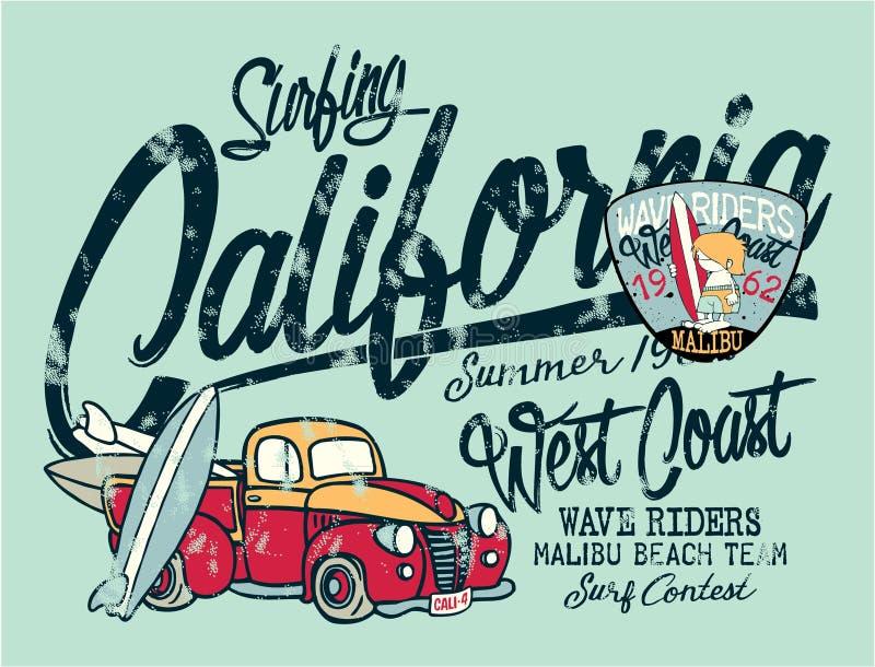 Camionete bonito do surfista de Califórnia ilustração do vetor