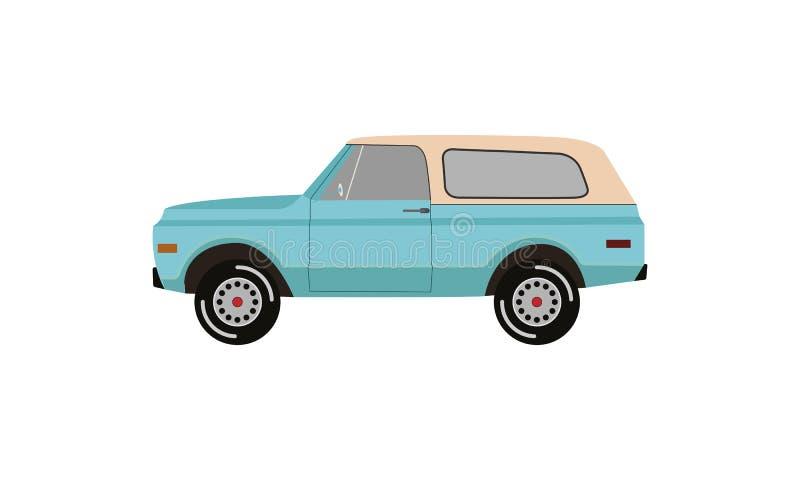 Camionete cl?ssica logotipo retro do caminh?o do vintage liso ilustração stock