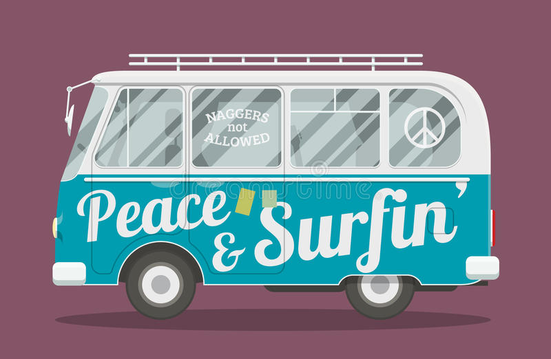 Camionete da hippie dos surfistas ilustração do vetor