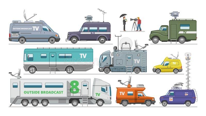 Camionete da transmissão do veículo da tevê do vetor do carro da transmissão com uma comunicação dos meios da antena e transporte ilustração stock