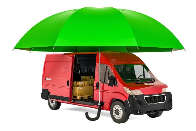 Camionete de entrega comercial sob o guarda-chuva, seguro e para proteger o conceito do transporte do frete rendição 3d ilustração royalty free