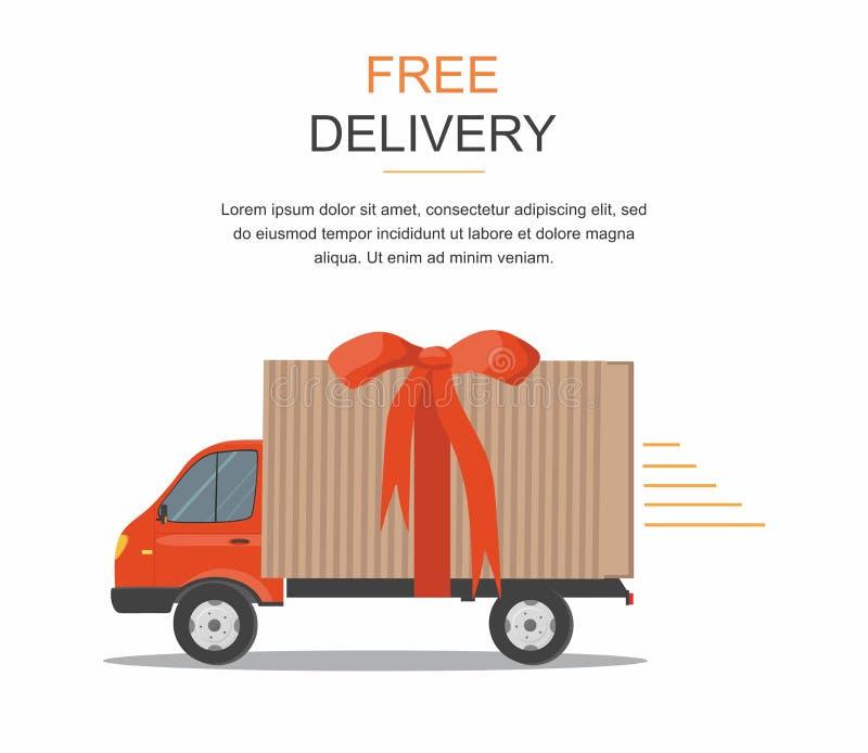 Camionete de entrega vermelha com a fita no fundo branco Bens do produto que enviam o transporte Caminhão do serviço gratuito ilustração do vetor