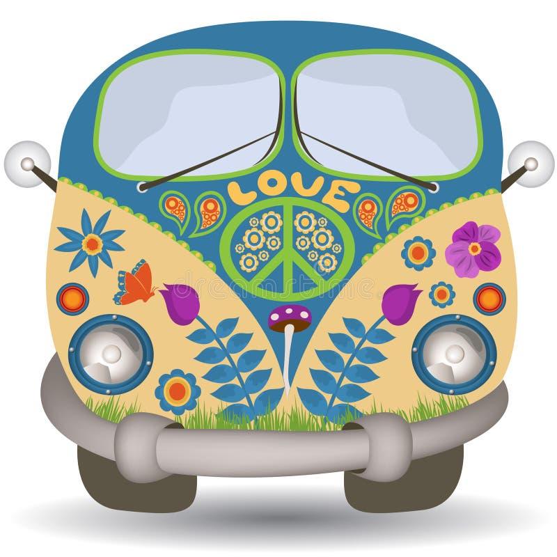 Camionete de flower power ilustração do vetor