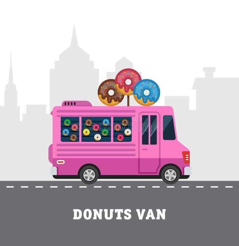Camionete do alimento da rua Entrega do Fastfood Projeto liso ilustração do vetor