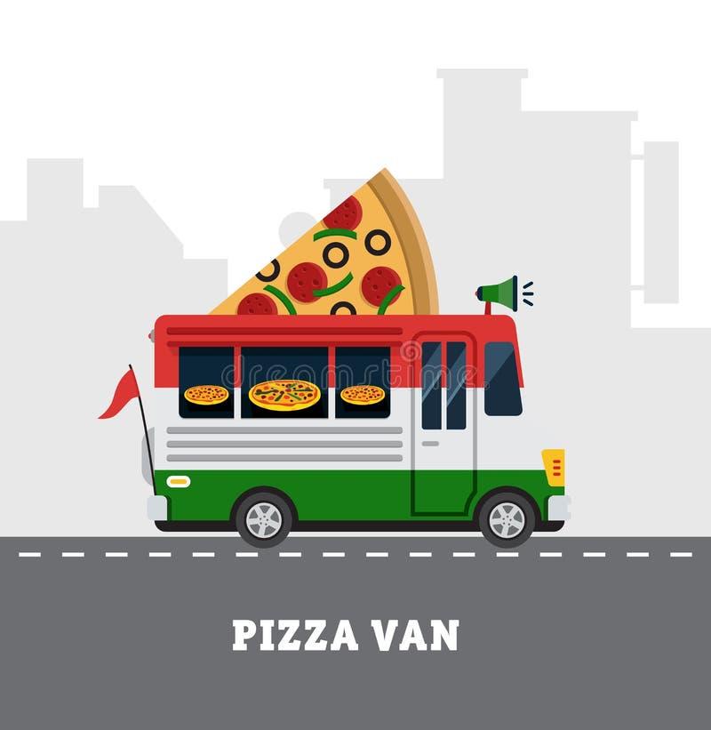 Camionete do alimento da rua Entrega do Fastfood Projeto liso ilustração royalty free