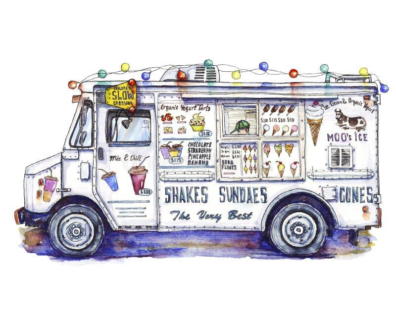 Camionete do gelado na aquarela ilustração stock