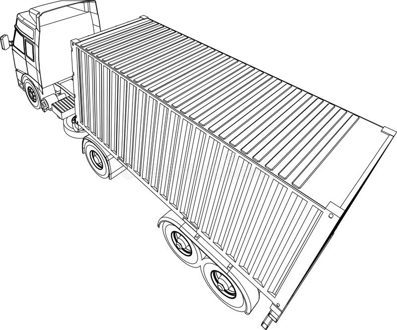 Camionete do recipiente do caminhão e do reboque ilustração royalty free