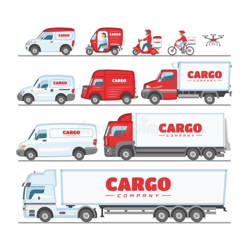 Camionete do vetor do caminhão da carga ou carro da carrinha para o grupo da ilustração do frete da entrega ou do transporte de z ilustração do vetor