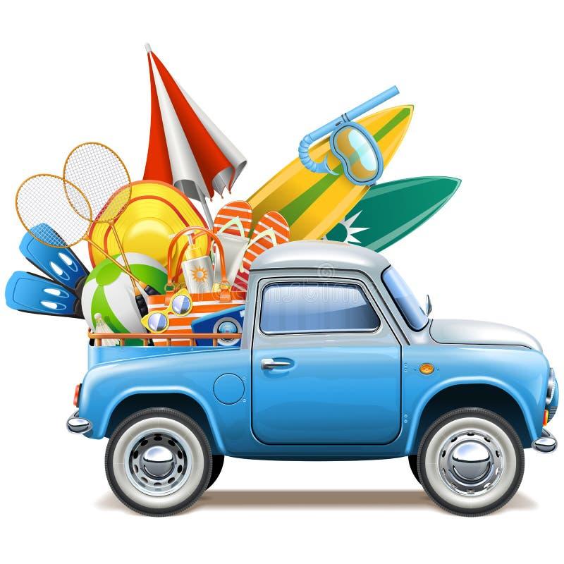 Camionete do vetor com acessórios da praia ilustração stock