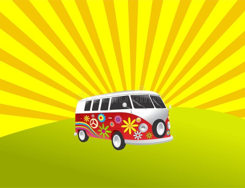 Camionete retro do vintage do campista do Hippie ilustração stock