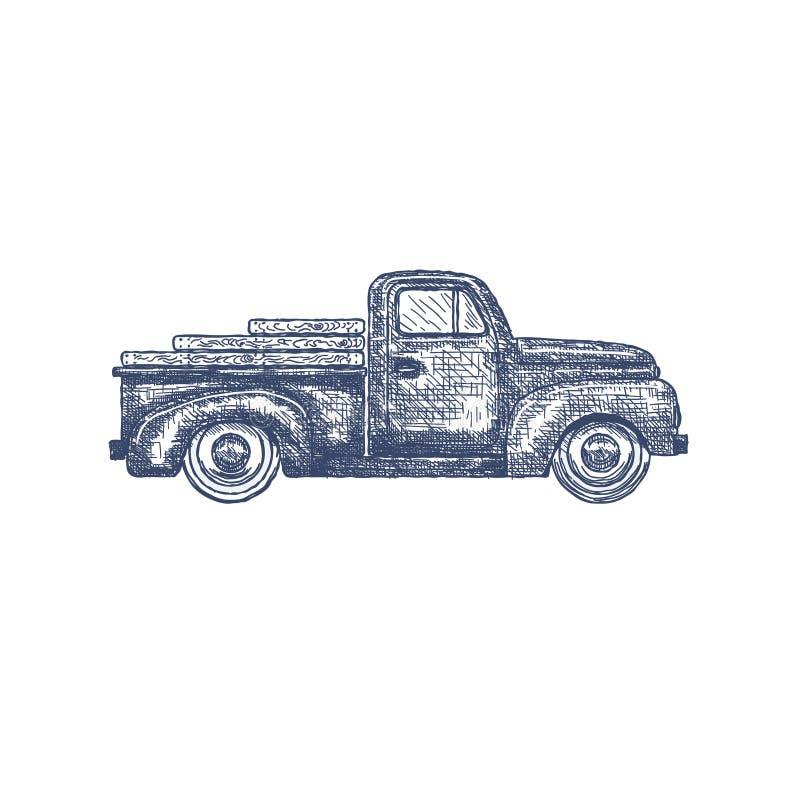 Camionete retro do vintage isolado no fundo branco Vetor ilustração do vetor