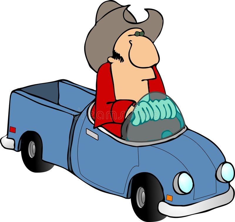 Camionnette de livraison de cowboy illustration libre de droits