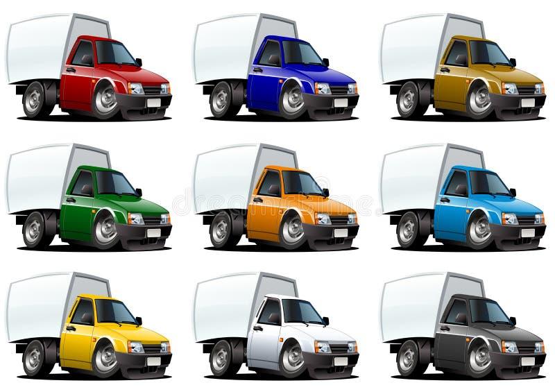 Camionnettes de livraison de dessin animé réglées illustration stock