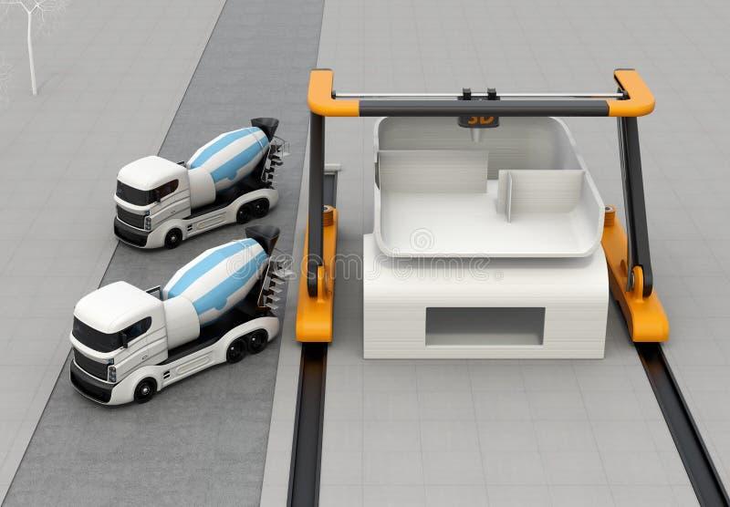 Camions de mélangeur concret dans le côté de l'imprimante 3D industrielle qui maison d'impression illustration libre de droits