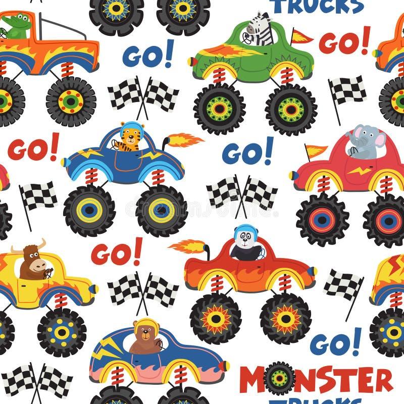 Camions de monstre sans couture de modèle avec des animaux sur le fond blanc illustration stock