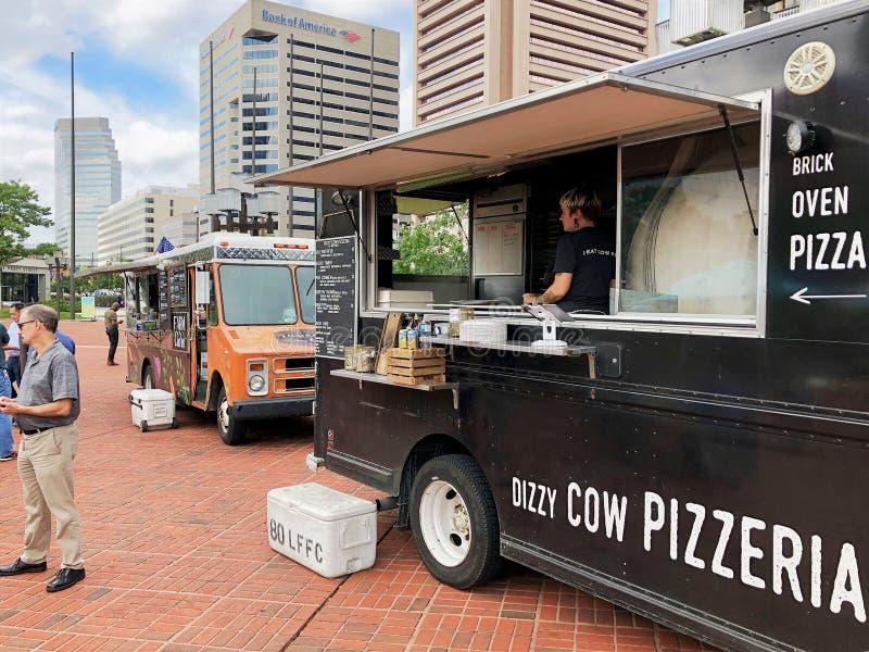 Camions de nourriture à Baltimore photo libre de droits