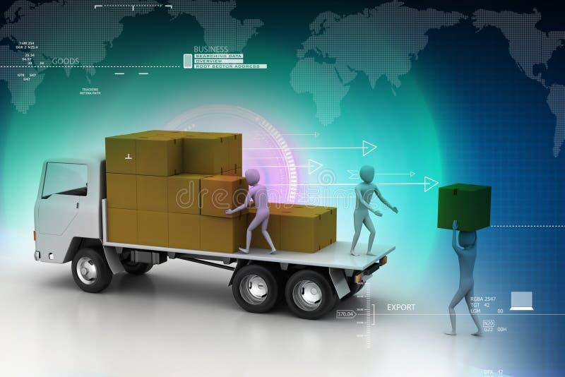 Camions de transport dans la livraison de fret illustration de vecteur