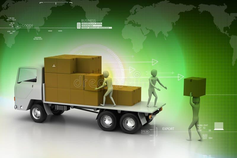 Camions de transport dans la livraison de fret illustration libre de droits