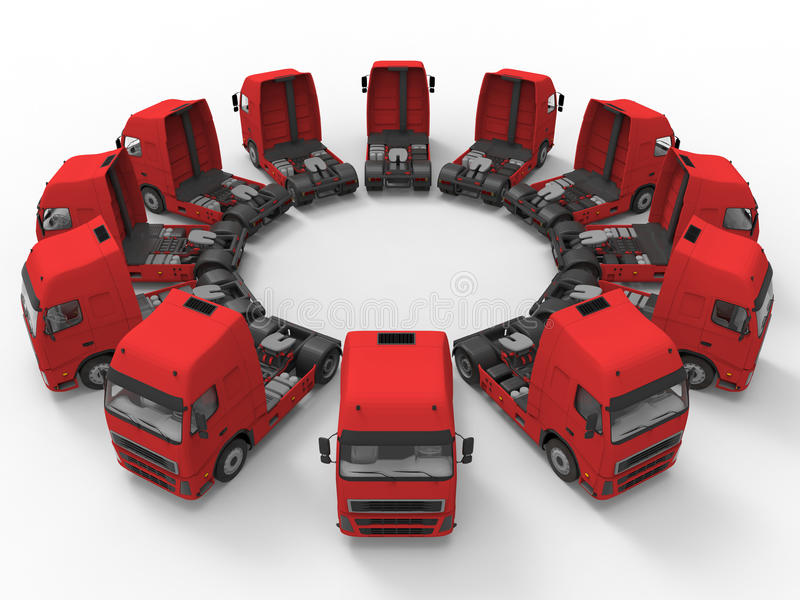 Camions disposés dans une rangée circulaire illustration stock