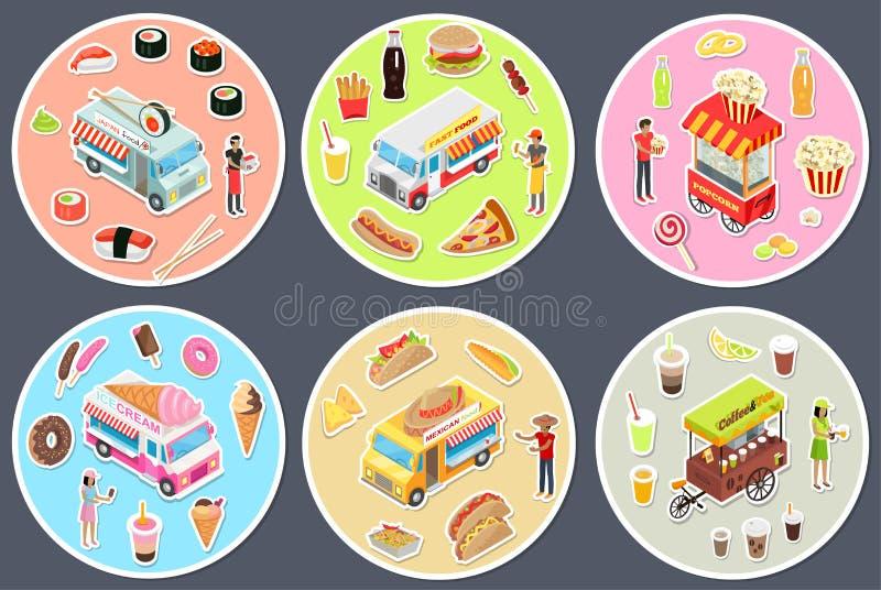 Camions isométriques de nourriture de rue réglés illustration de vecteur