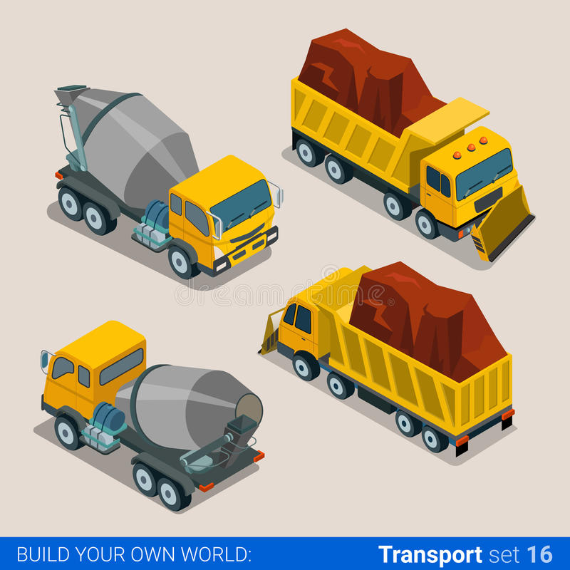 Camions lourds de transport de construction Mixe concret illustration de vecteur