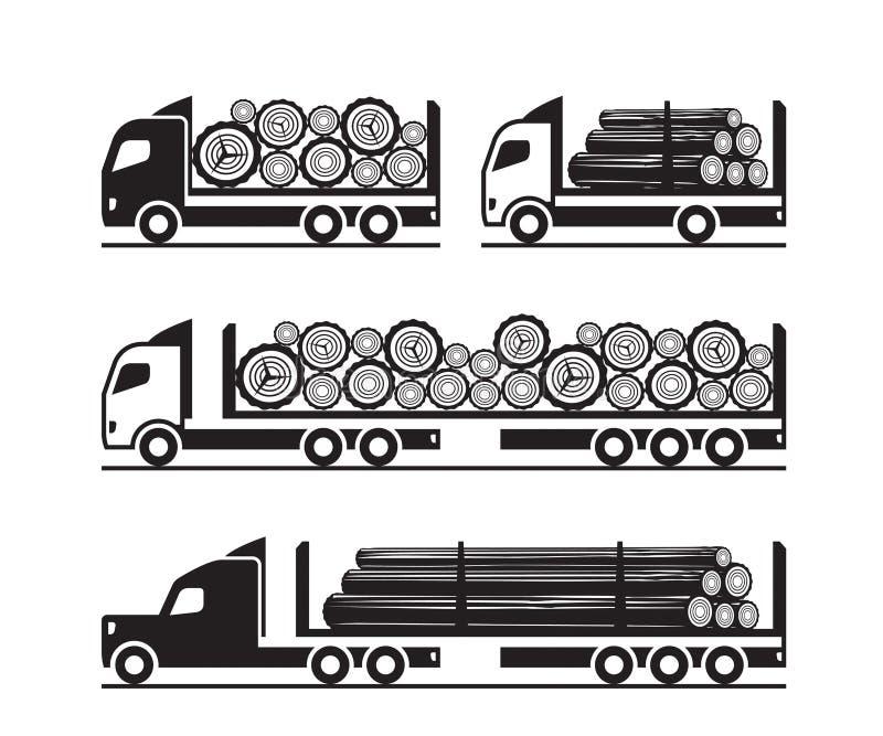Camions pour le transport des rondins en bois illustration stock