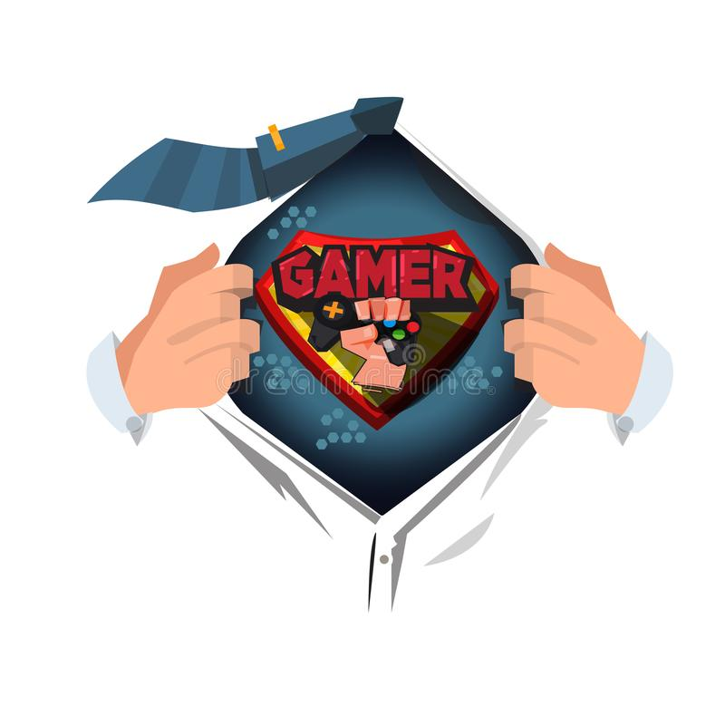 Camisa aberta do homem ao conceito do homem do gamer do ` do logotipo do Gamer do ` da mostra - vetor ilustração do vetor