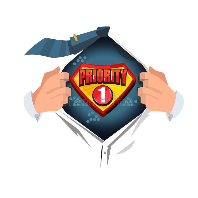 Camisa aberta do homem ao logotype do ` da prioridade do ` do texto da mostra no estilo dos desenhos animados - vetor ilustração do vetor