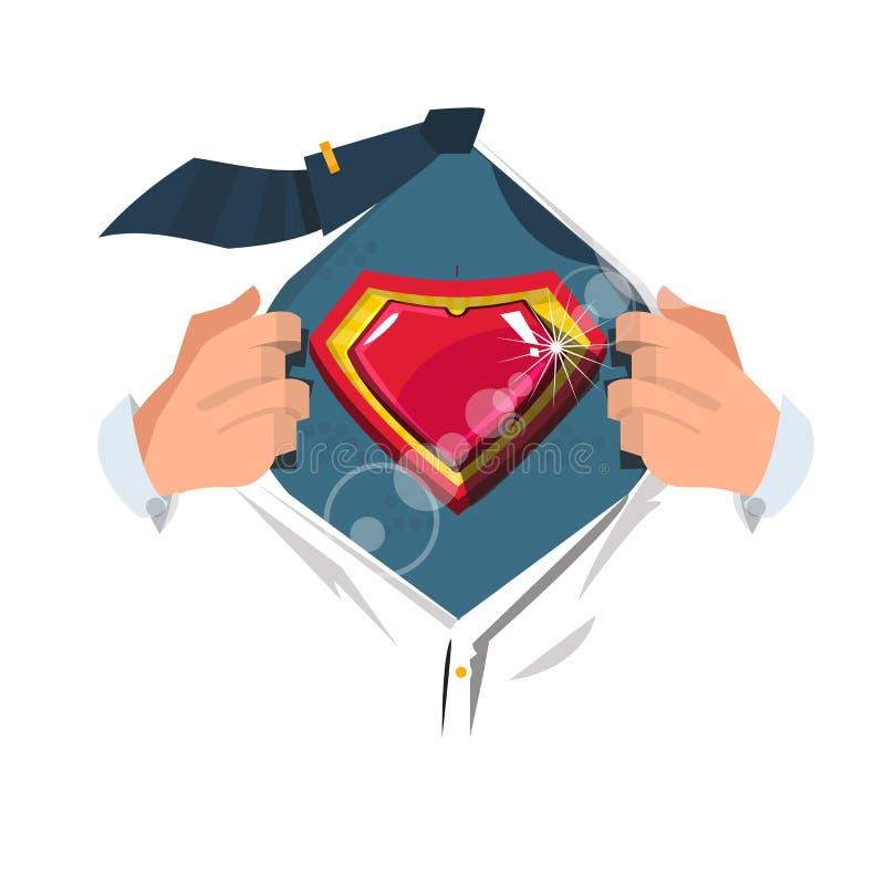 Camisa aberta do homem esperto ao símbolo do coração do ` da mostra no estilo do herói ilustração do vetor