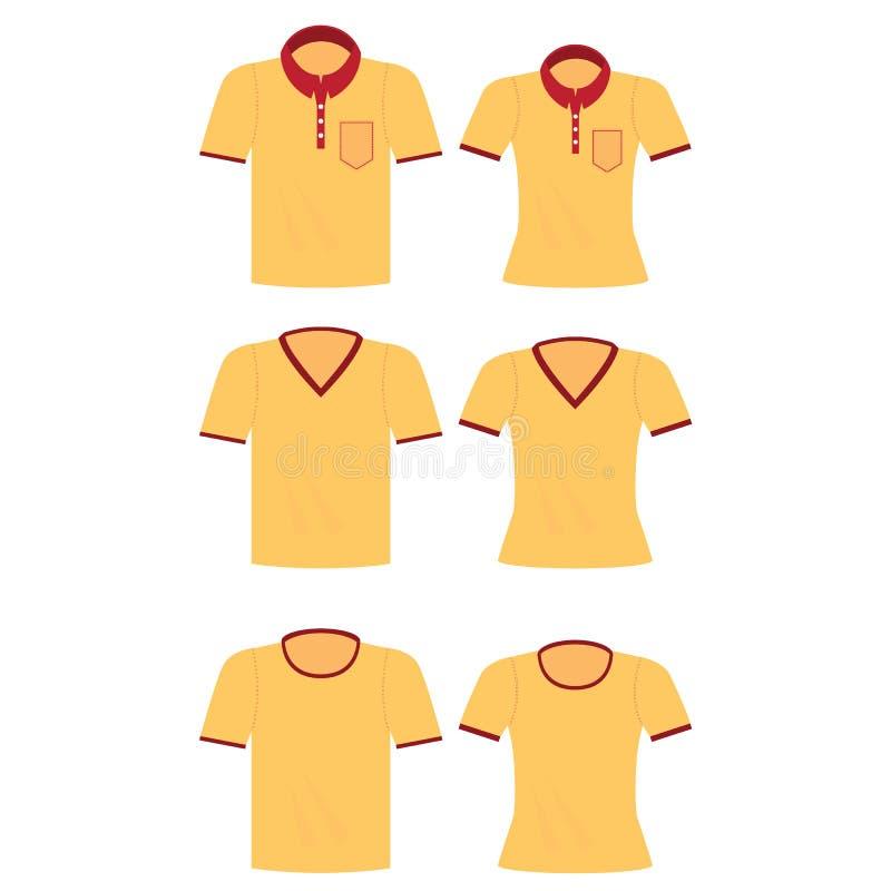 Camisa amarela para homens e mulheres ilustração stock