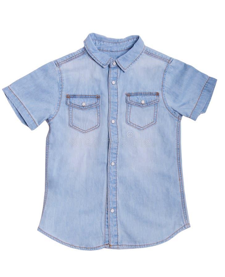 Camisa azul da sarja de Nimes com fotos de stock