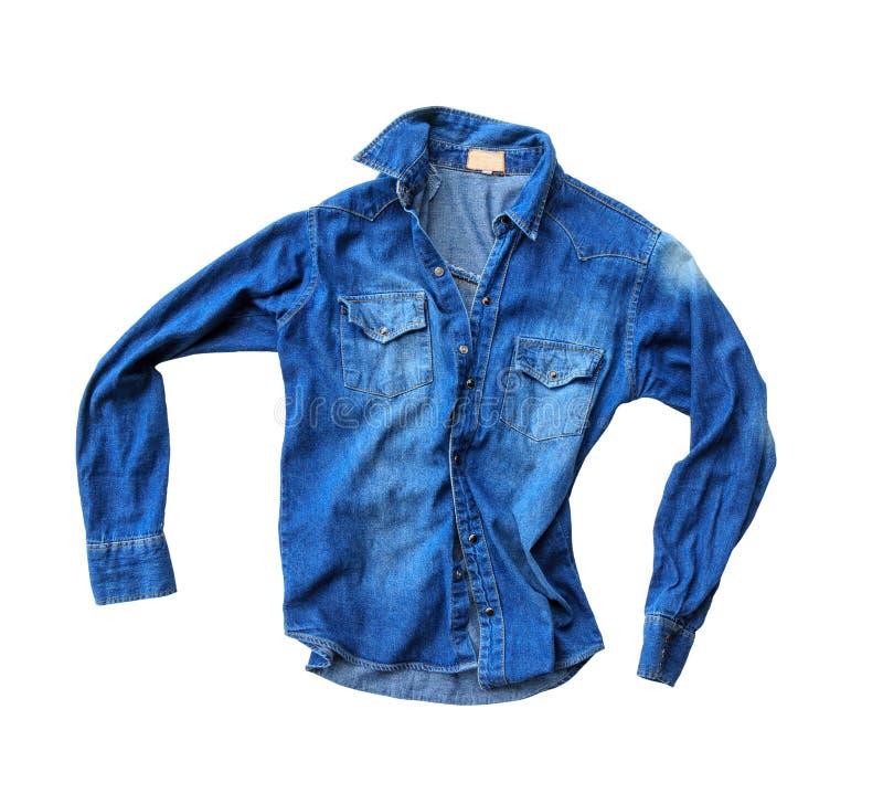 Camisa azul de los vaqueros del dril de algodón foto de archivo libre de regalías