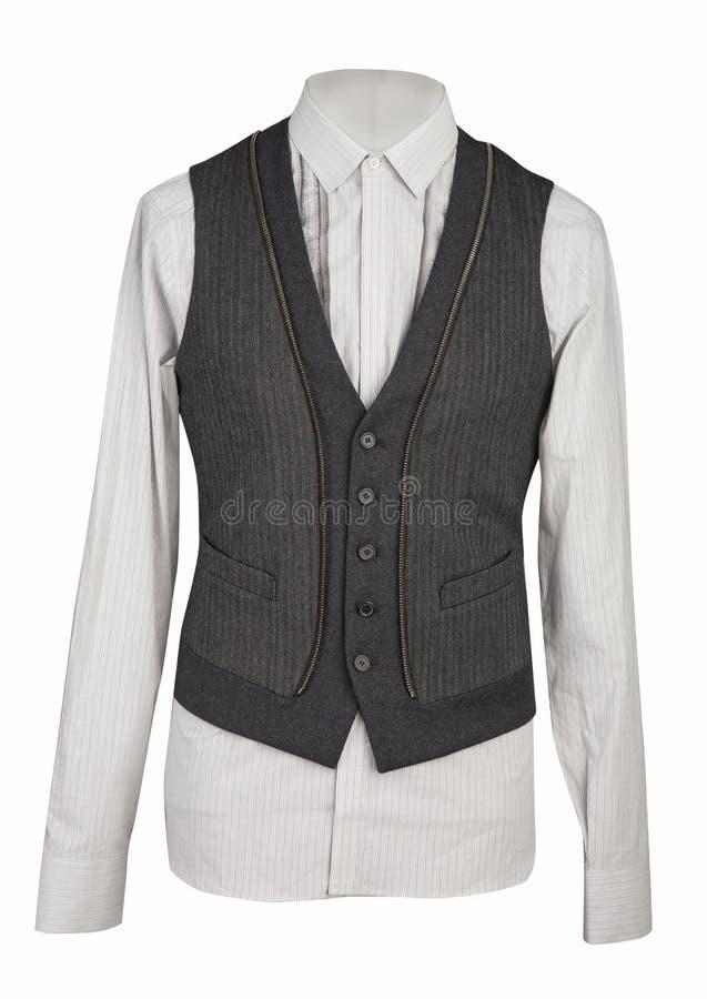 Camisa branca e waistcoat cinzento fotografia de stock