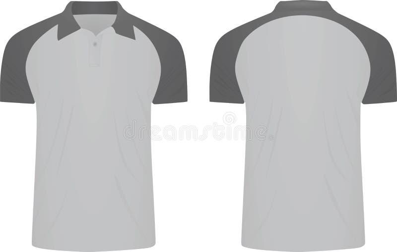 Camisa cinzenta do polo t Vista dianteira e traseira ilustração royalty free