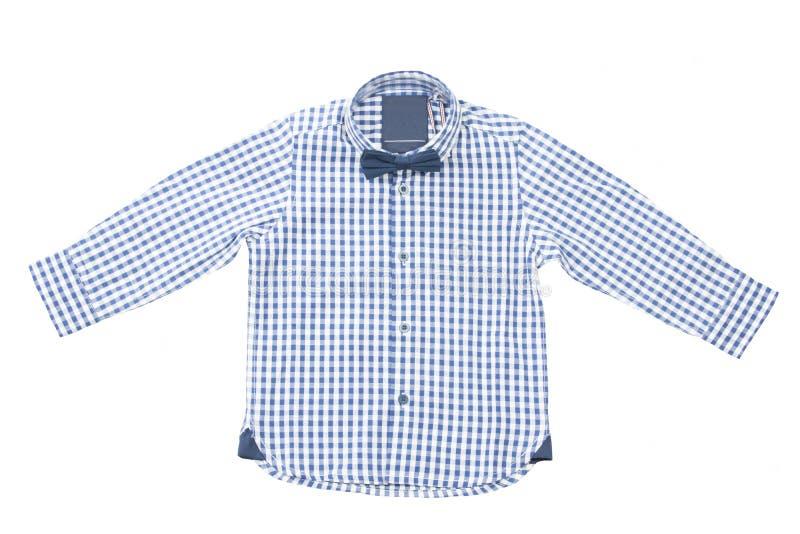 Camisa a cuadros blanca azul de los niños con la corbata de lazo fotografía de archivo libre de regalías