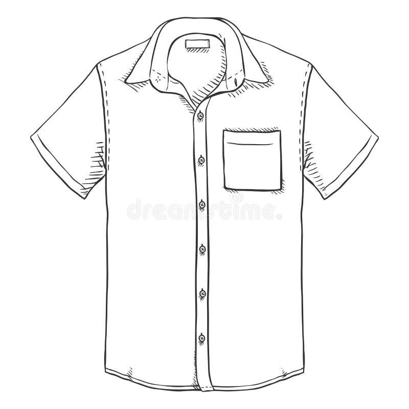 Camisa curto dos homens da luva do esboço do vetor ilustração stock