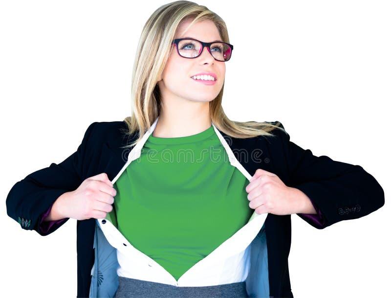 Camisa da abertura da mulher de negócios no estilo do super-herói imagem de stock